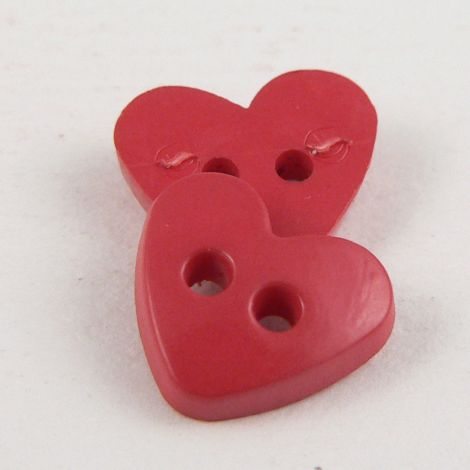 10mm Heart 2 Hole Red Button