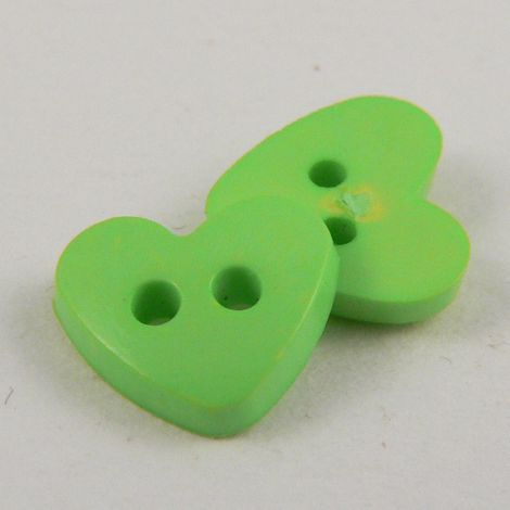 10mm Heart 2 Hole Green Button