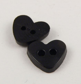 7mm Heart 2 Hole Black Button