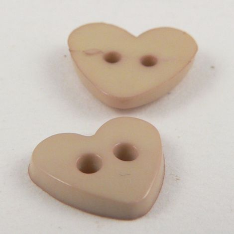 10mm Heart 2 Hole Beige Button