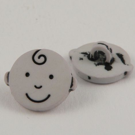 15mm Kiss Curl Smiley Face Shank Button
