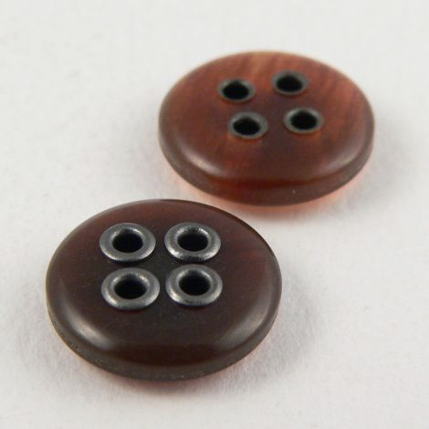 13mm Amber/Pewter 4 Hole Shirt Button