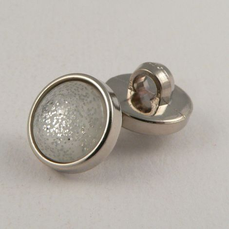 13mm Silver Encased Glitter Shank Button
