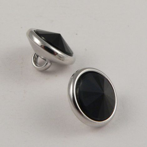 11mm Black Crystal Dress Shirt  Shank Button