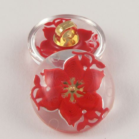 22mm Red/Clear Domed 3D Floral Shank Coat Button
