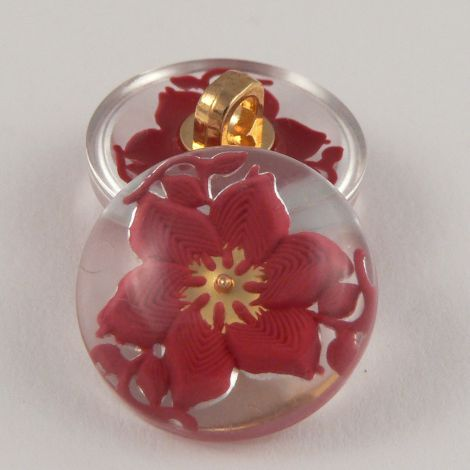 22mm Pink/Clear Domed 3D Floral Shank Coat Button