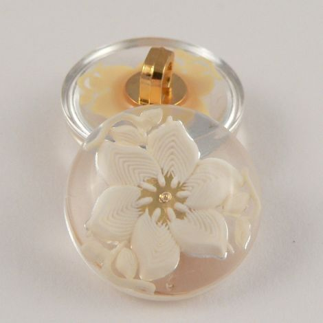 22mm Ivory/Clear Domed 3D Floral Shank Coat Button