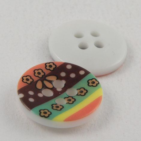 15mm Abstract Flower 4 Hole Sewing Button