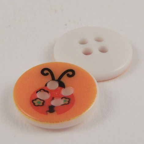 15mm Abstract Ladybird 4 Hole Button