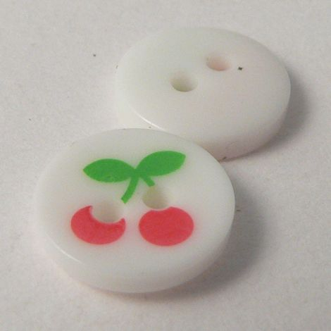 11mm Cherries 2 Hole Button