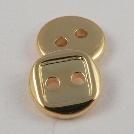 10mm Round Square Gold Effect 2 Hole Shirt/Sewing Button