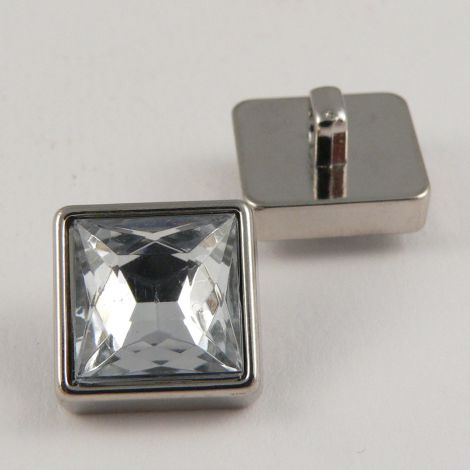 15mm Square Crystal Faceted Shank Button