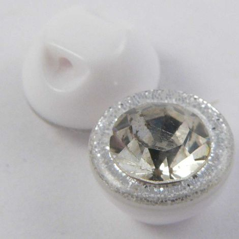 10mm Domed Glitter Crystal Faceted Shank Button