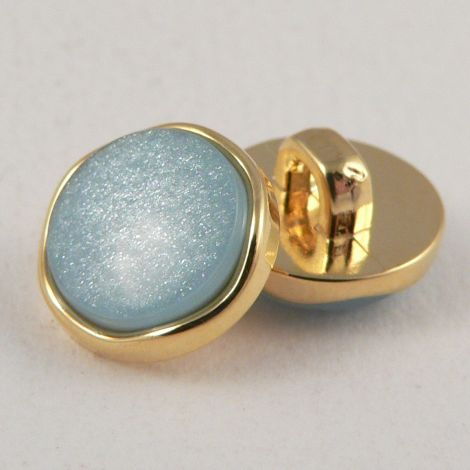 11mm Flat Shank Sky Blue Sewing Button Encased in Gold