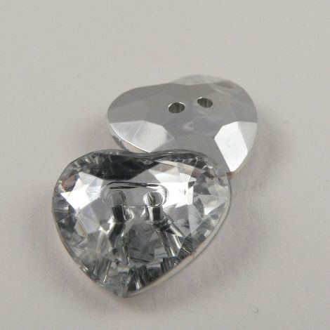 18mm Clear Heart Crystal Faceted 2 Hole Button