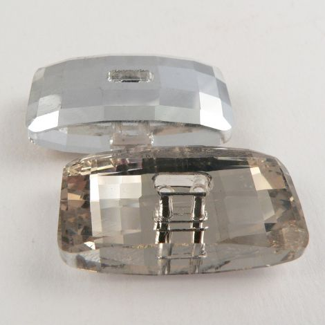 30mm Rectangular Faceted Glass 2 Hole Button