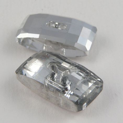 21mm Rectangular Faceted Glass 2 Hole Button