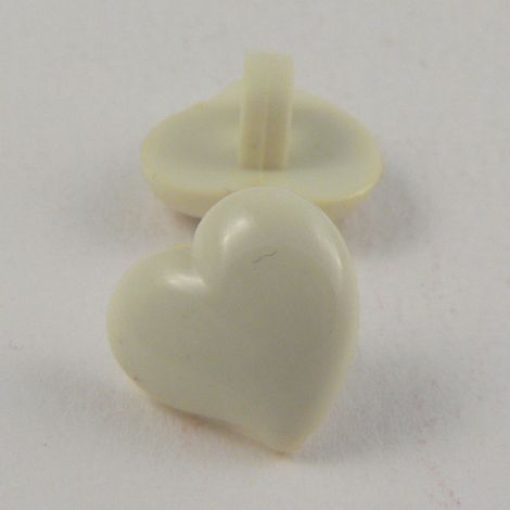 12mm Domed Cream Heart Shank Button