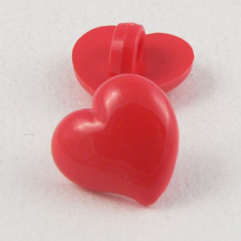14mm Domed Red Heart Shank Button