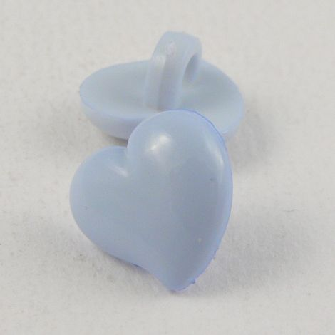 14mm Domed Pale Blue Heart Shank Button
