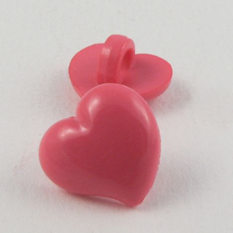 14mm Domed Cerise Pink Heart Shank Button