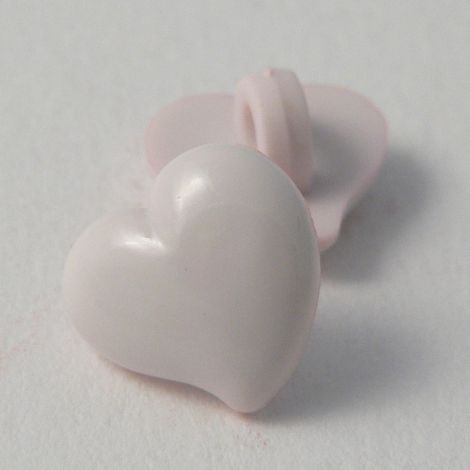 12mm Domed Pale Pink Heart Shank Button