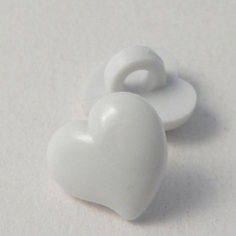 12mm Domed White Heart Shank Button