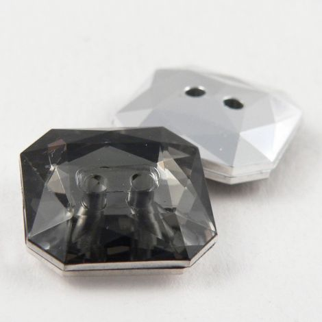 16mm Grey Square Faceted 2 Hole Button