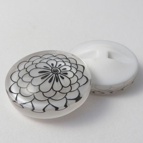 25mm Chunky Shimmery Shank Coat Button With Abstract Flower