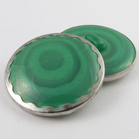 18mm Silver Rimmed Green Abstract Shank Sewing Button