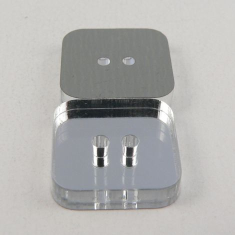 16mm Square Mirror 2 Hole Button
