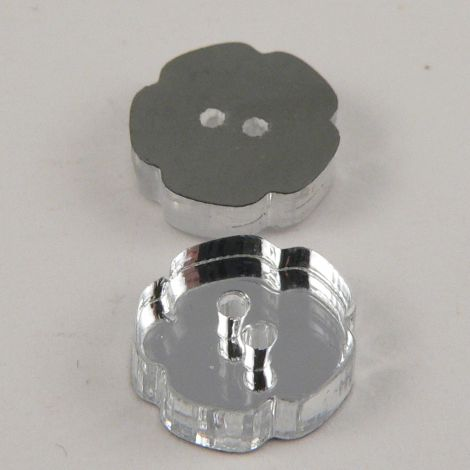 11mm Flower Clear Mirror 2 Hole Button