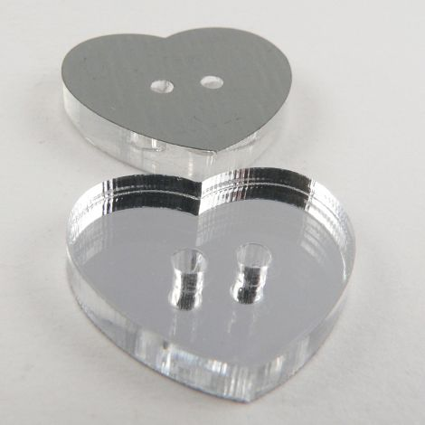 13mm Heart Mirror 2 Hole Button