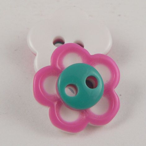 13mm Pink & Green Cute Flower 2 Hole Button