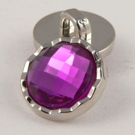 11mm Purple Faceted Shank Button With Decorative Silver Rim