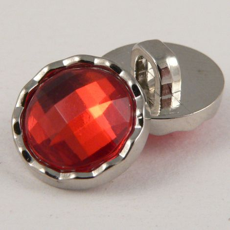 11mm Red Faceted Shank Button With Decorative Silver Rim