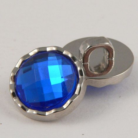 11mm Blue Faceted Shank Button With Decorative Silver Rim