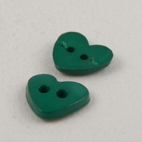10mm Heart Emerald Green 2 Hole Button