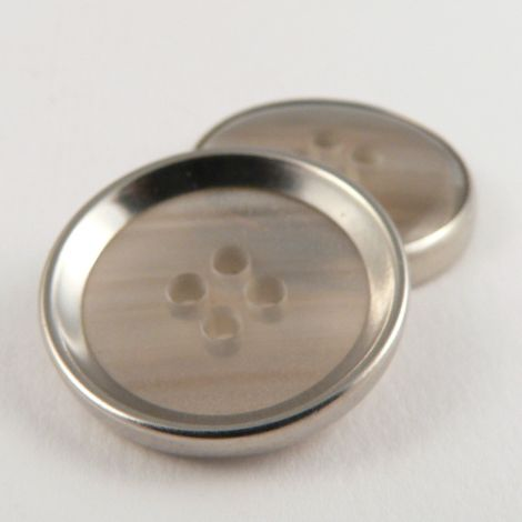 18mm Silver Rimmed Shell Effect 4 Hole Sewing Button