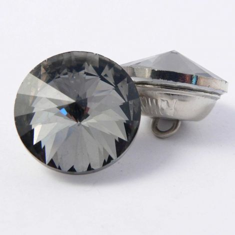 20mm Smoke Crystal Faceted Shank Button