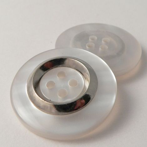 22mm Opaque MOP Effect 4 Hole Sewing Button With A Silver Ring