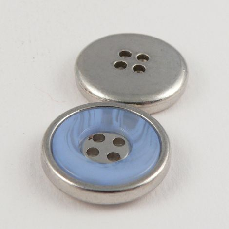 22mm Blue Marble Effect Rimmed Silver 4 Hole Sewing Button