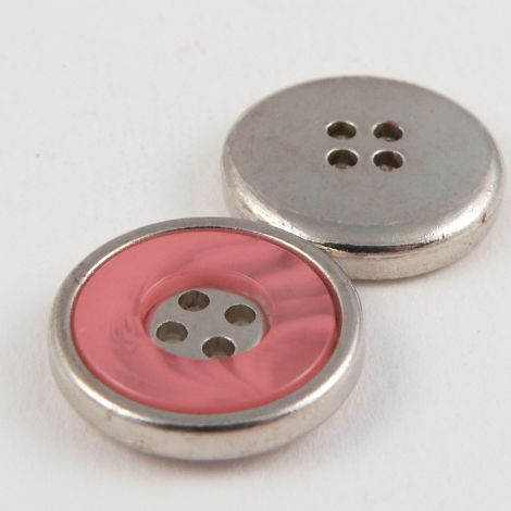18mm Pink Marble Effect Rimmed Silver 4 Hole Sewing Button