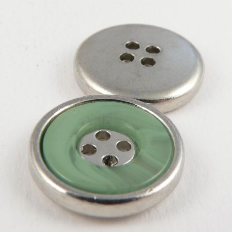 22mm Green Marble Effect Rimmed Silver 4 Hole Sewing Button