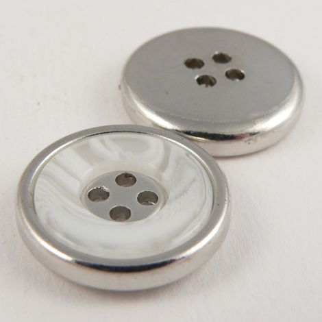 18mm White Marble Effect Rimmed Silver 4 Hole Sewing Button