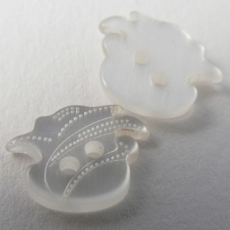 15mm Clear Plastic Flower Head 2 Hole Button