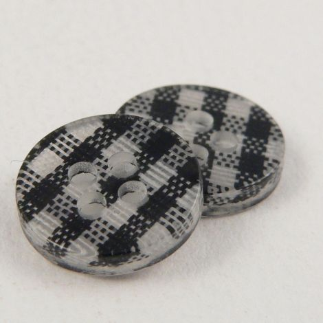 11mm Black Checked 4 Hole Shirt/Sewing Button
