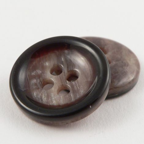 23mm Brown Shiny Marble Effect Plastic 4 Hole Coat Button