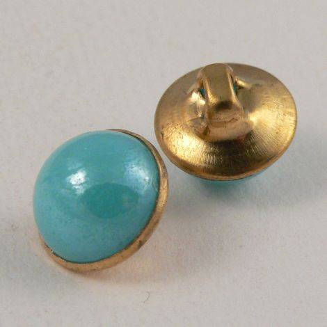 10mm Turquoise/Gold Domed Shank Sewing Button