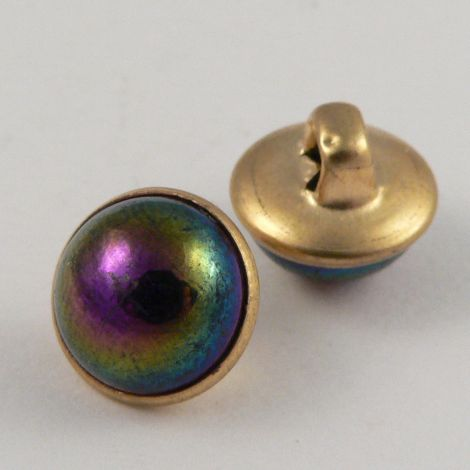 10mm Multicoloured/Gold Domed Shank Sewing Button